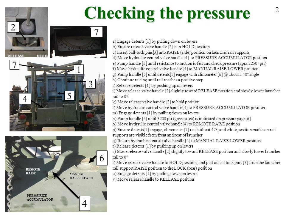 Checking the pressure 2. 2. 7. a) Engage detents [1] by pulling down on levers. b) Ensure release valve handle [2] is in HOLD position.